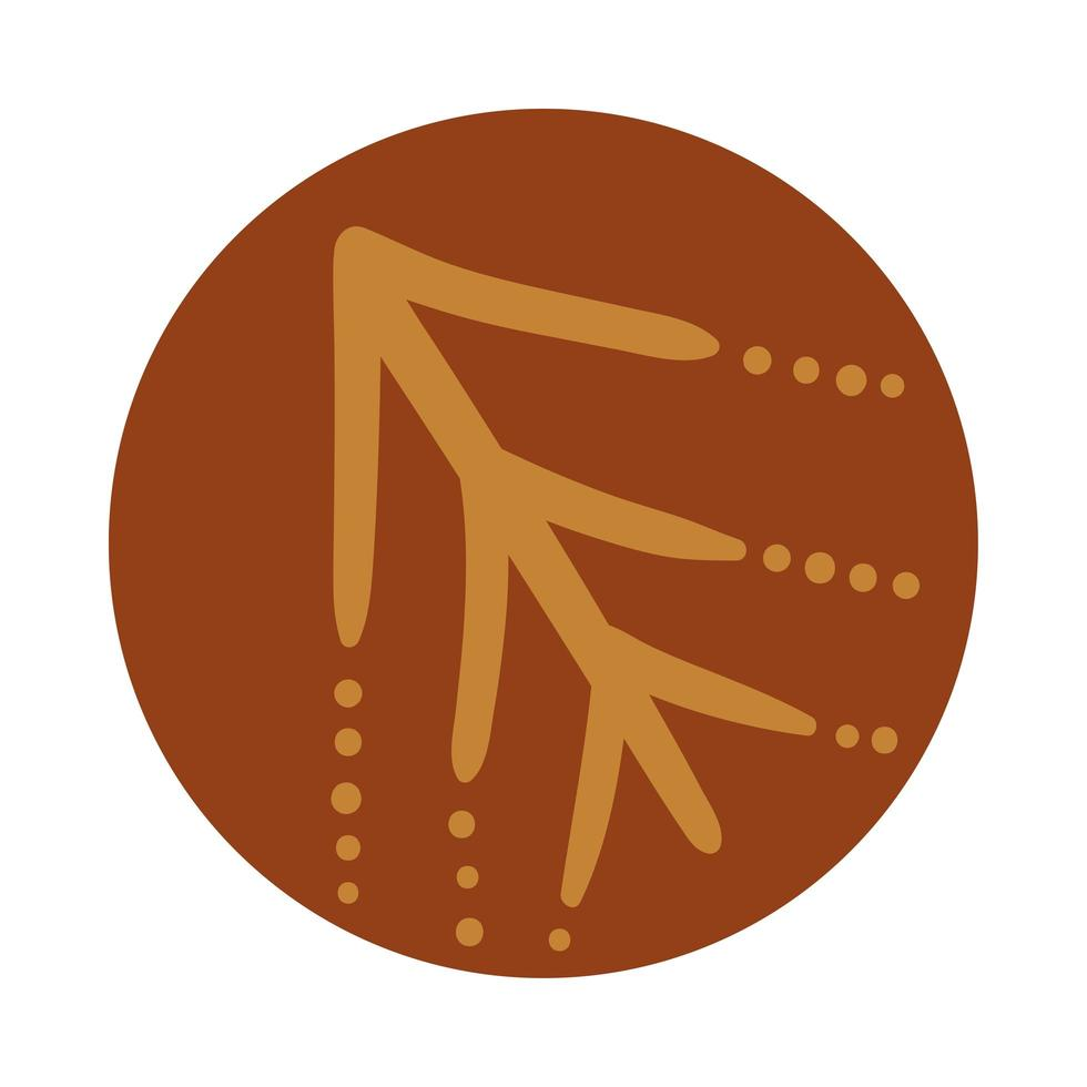rama con hojas estilo boho dibujado a mano vector