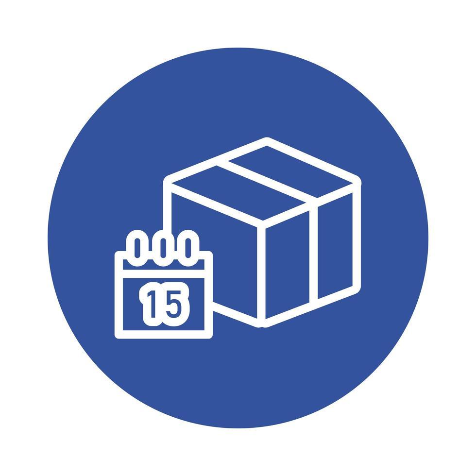 estilo de bloque de servicio de entrega de caja y calendario vector