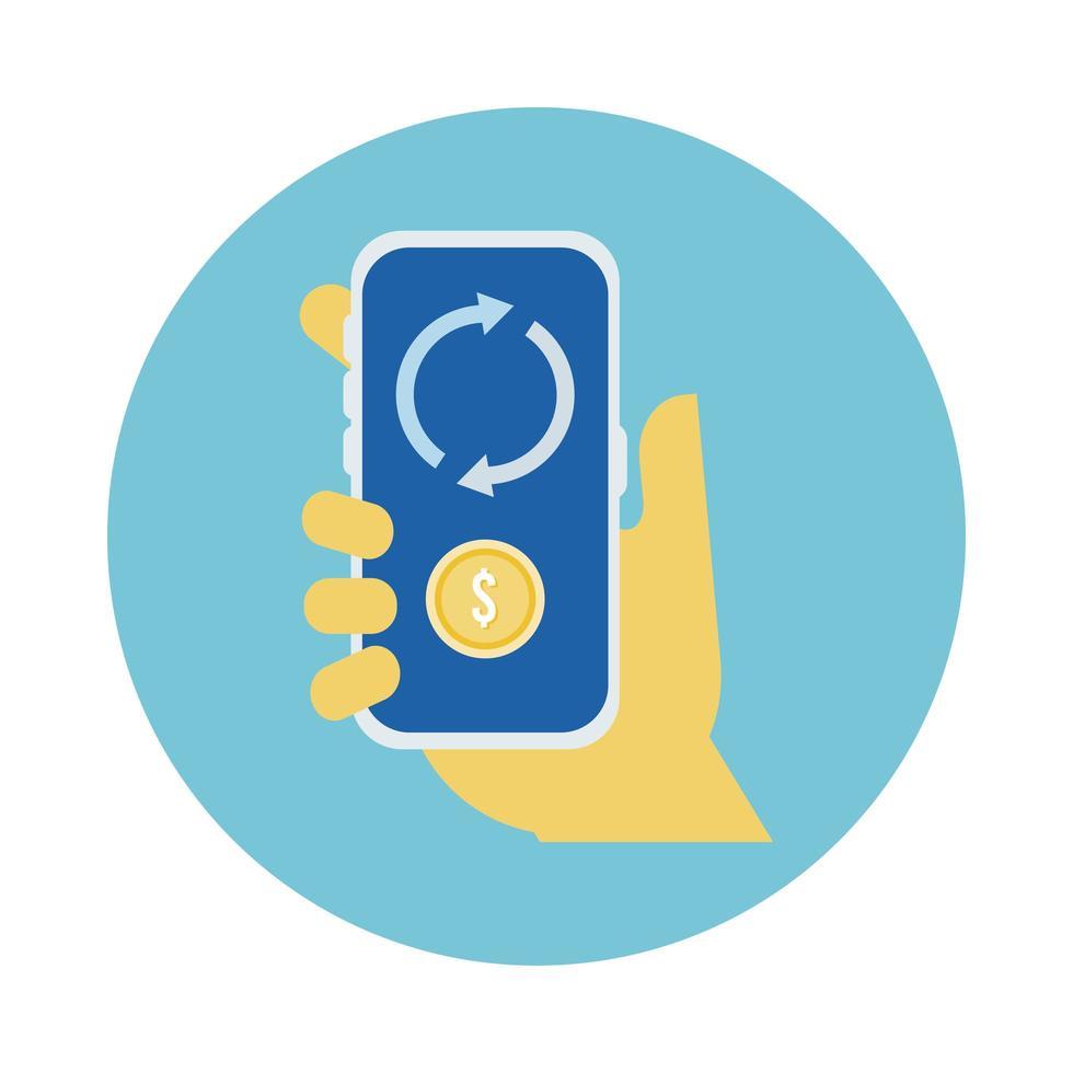 Mano usando un teléfono inteligente con estilo de bloque de monedas y flechas vector