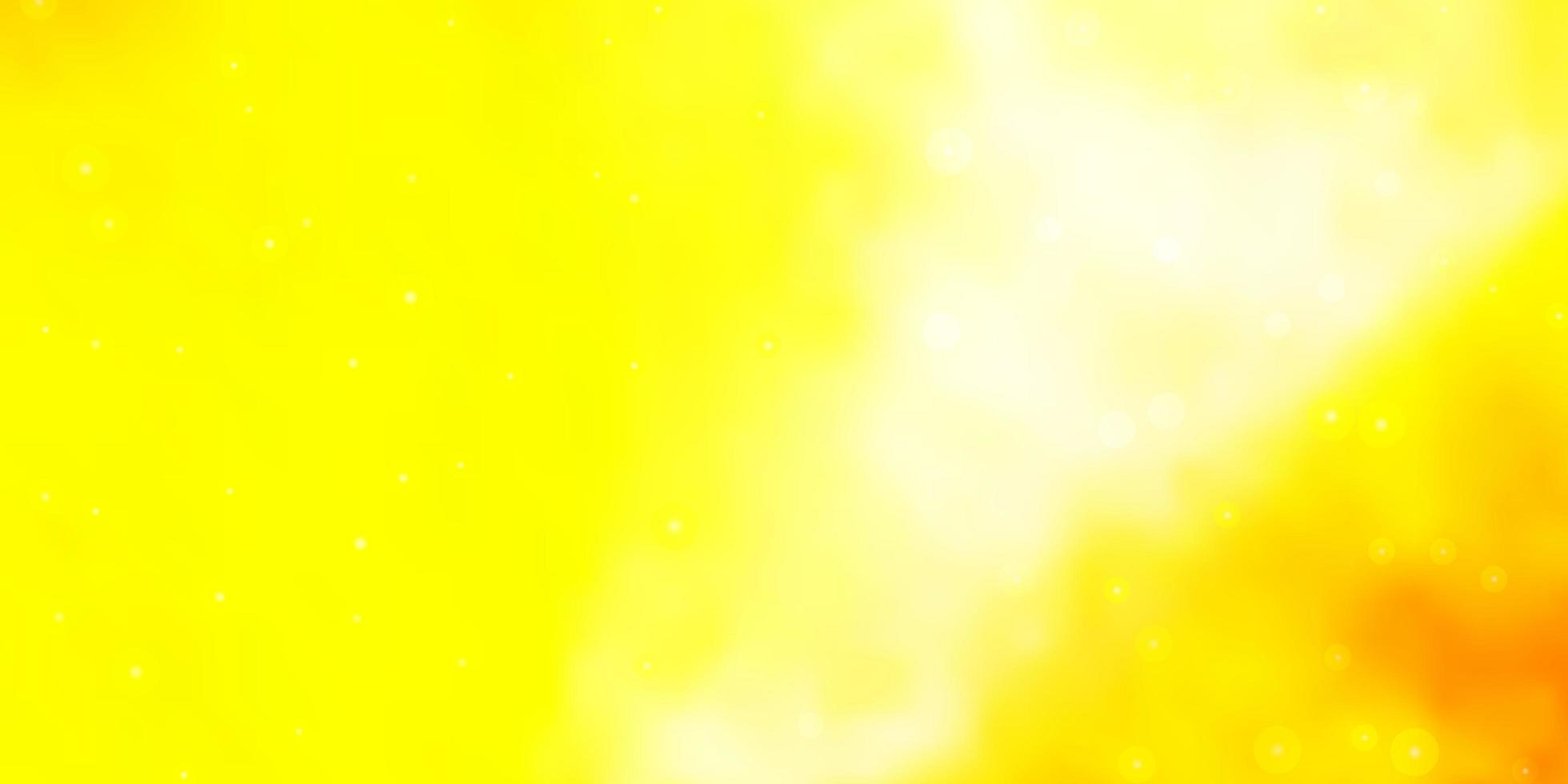 Dark Yellow vector background with small and big stars.