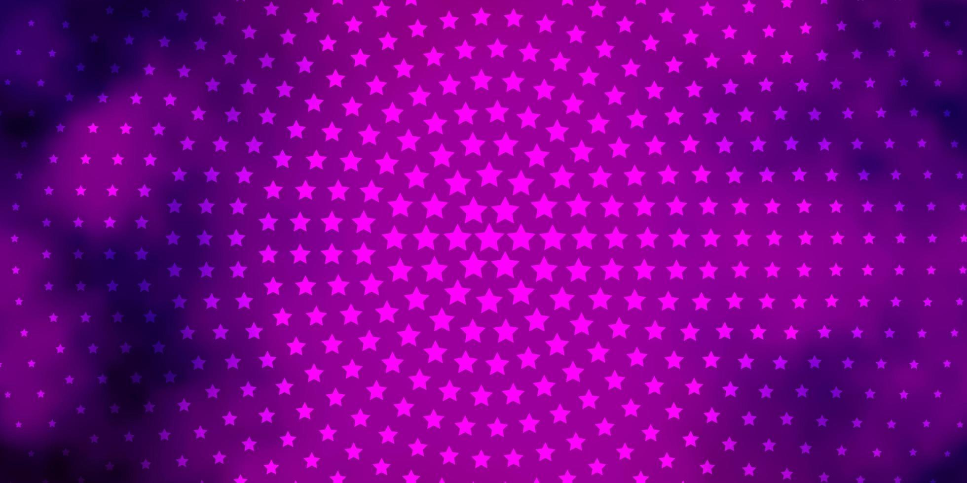 Dark Purple vector template with neon stars.