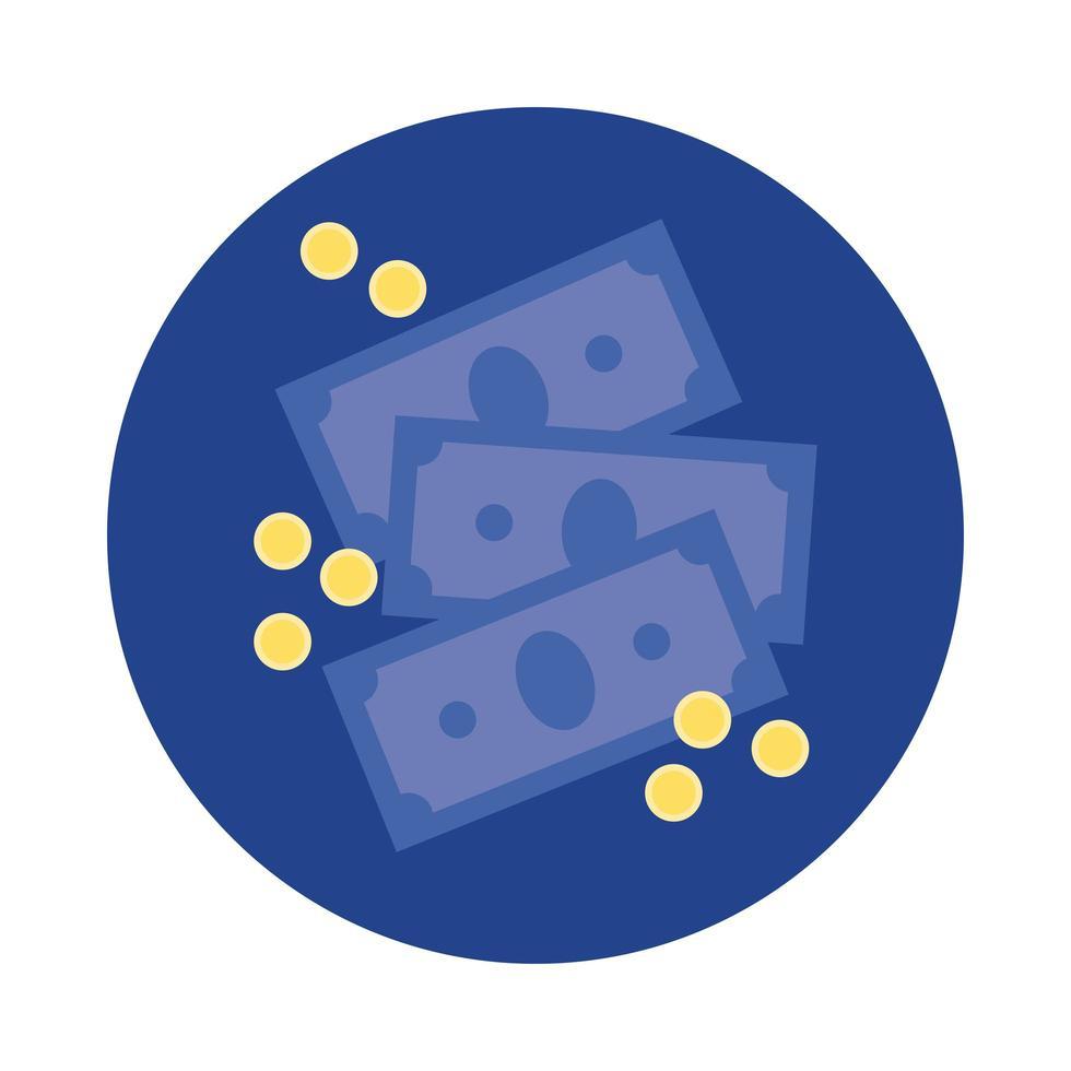 billetes dinero dólares bloque e icono de estilo plano vector