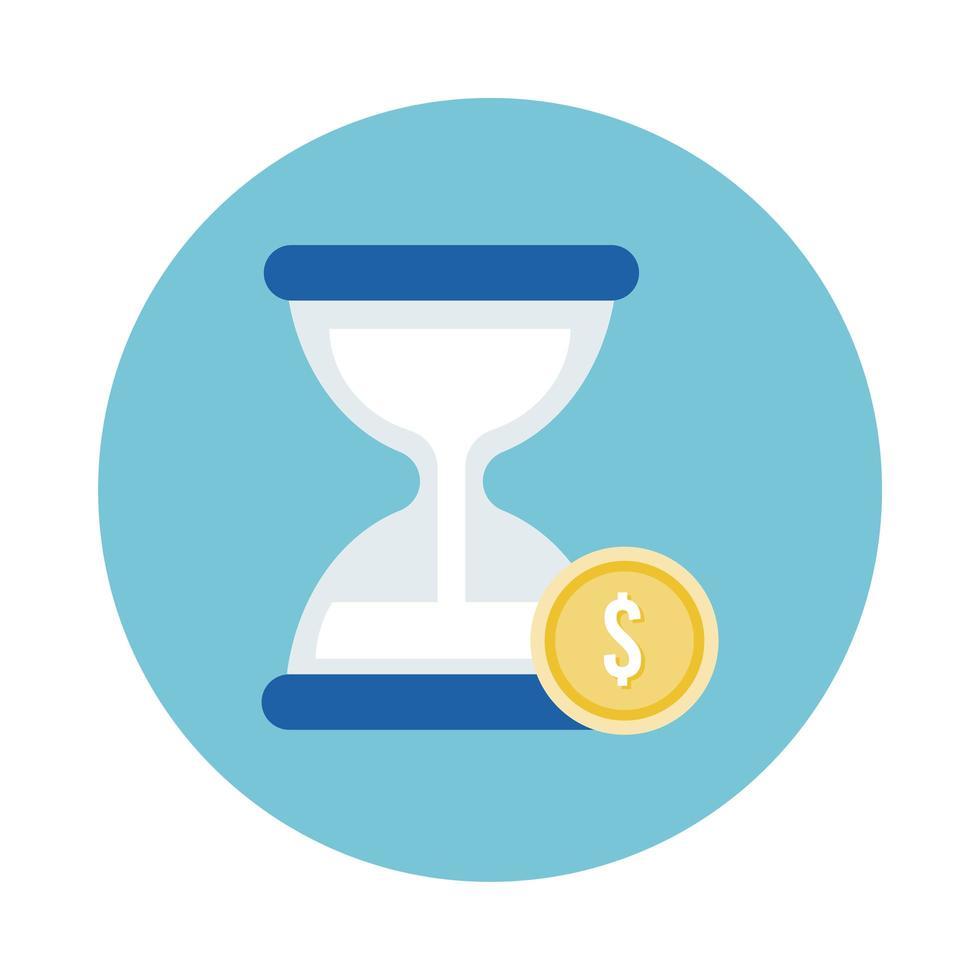 moneda dinero dólar con icono de estilo de bloque de reloj de arena vector