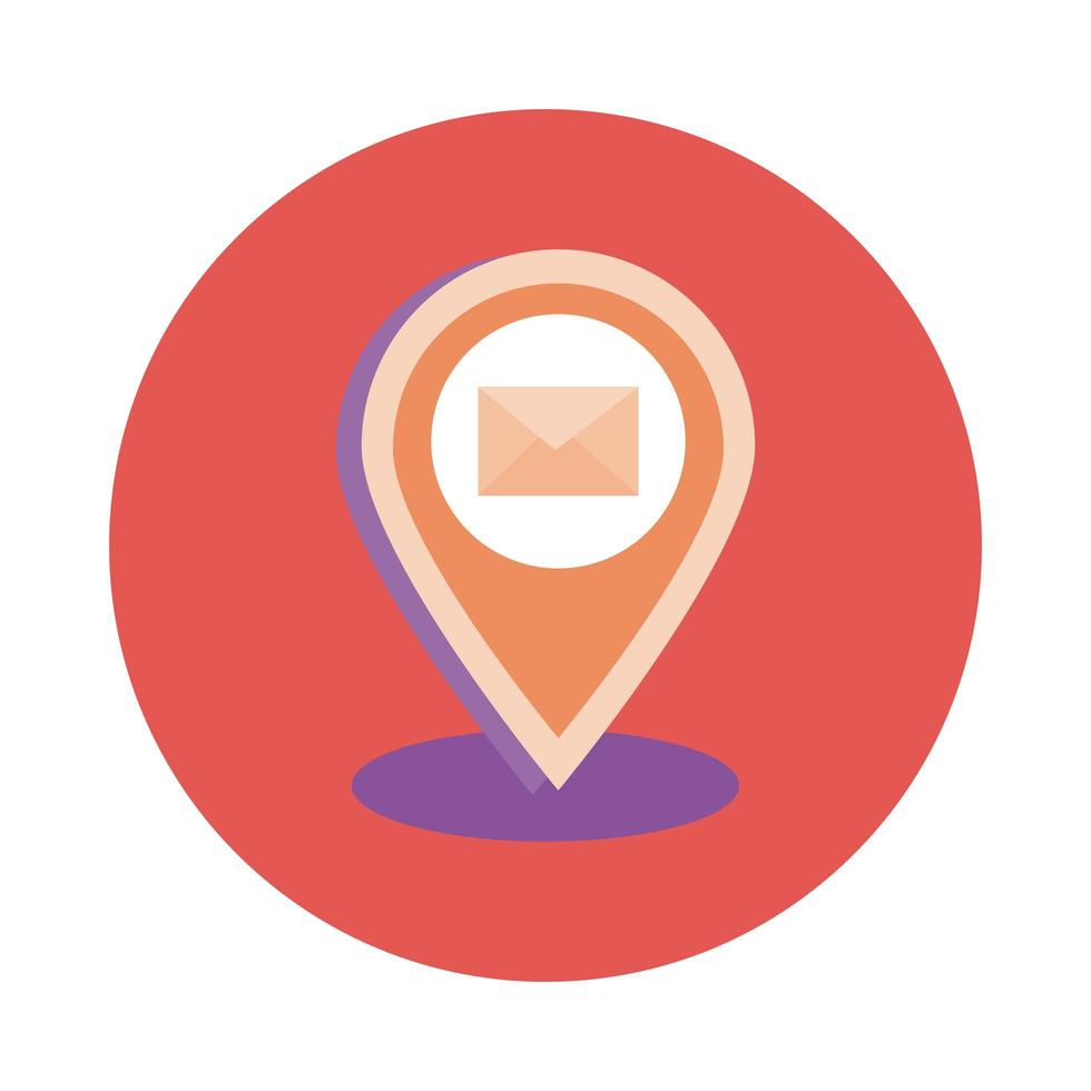 pin location with envelope mail block style vector