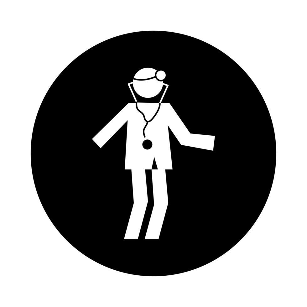 estilo de bloque de pictograma de salud de médico de figura humana vector