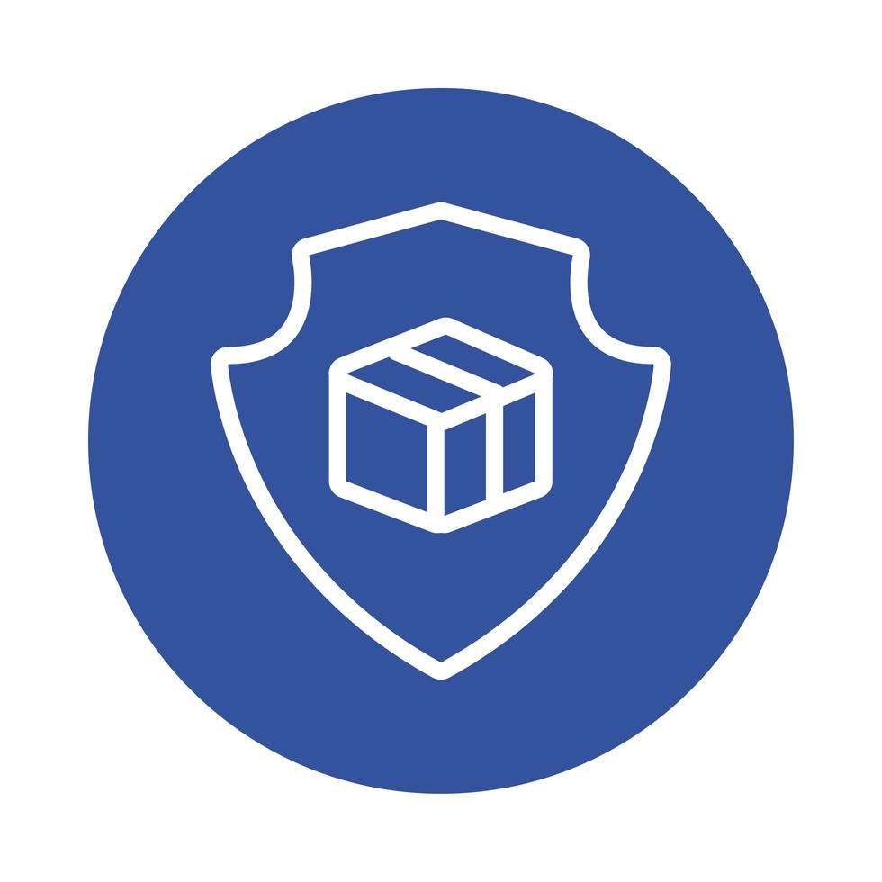 shield with box delivery service block style vector
