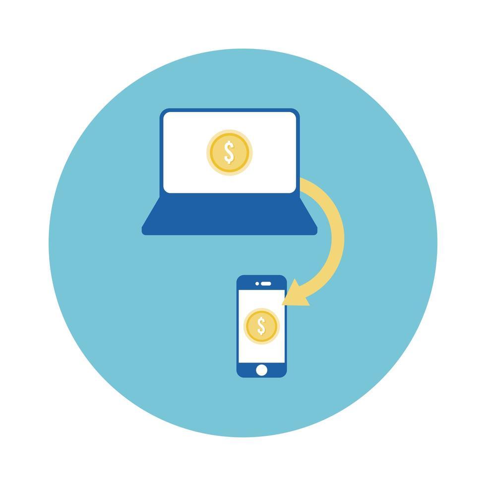 portátil y teléfono inteligente con icono de estilo de bloque de monedas vector