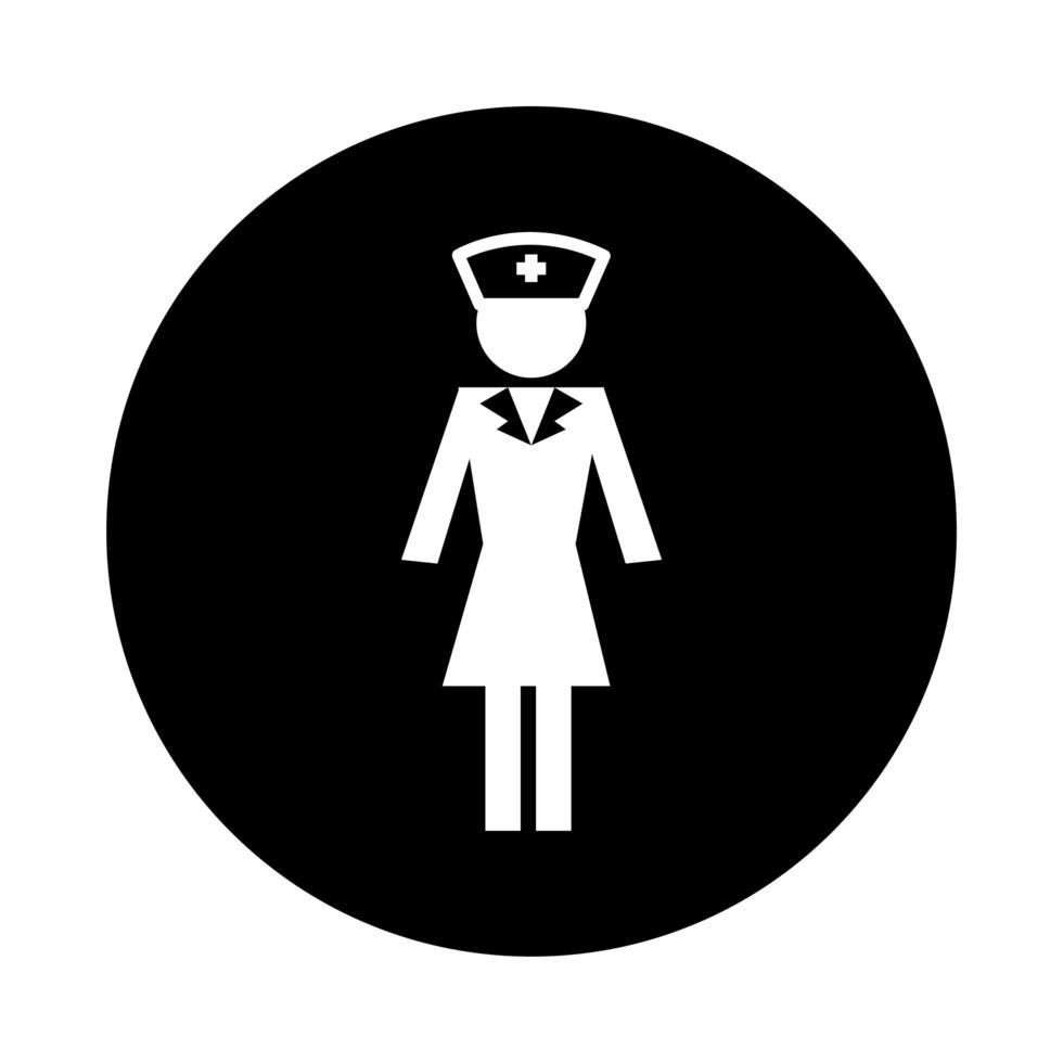 estilo de bloque de pictograma de salud de enfermera de figura humana vector