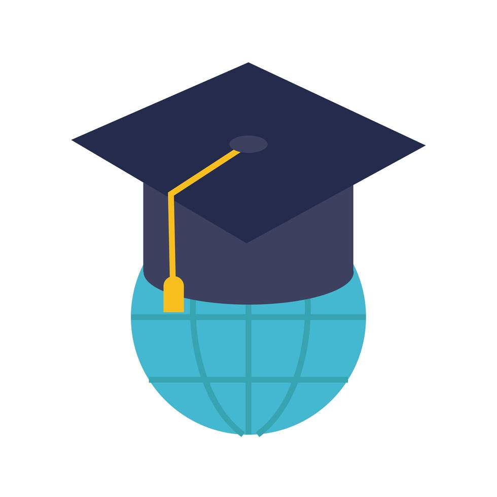 graduation hat with world planet education online flat style vector