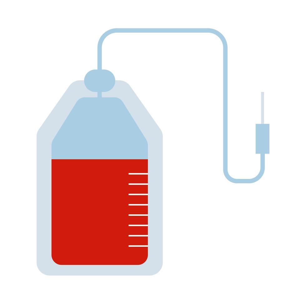 icono de estilo plano de donación de bolsa de sangre vector