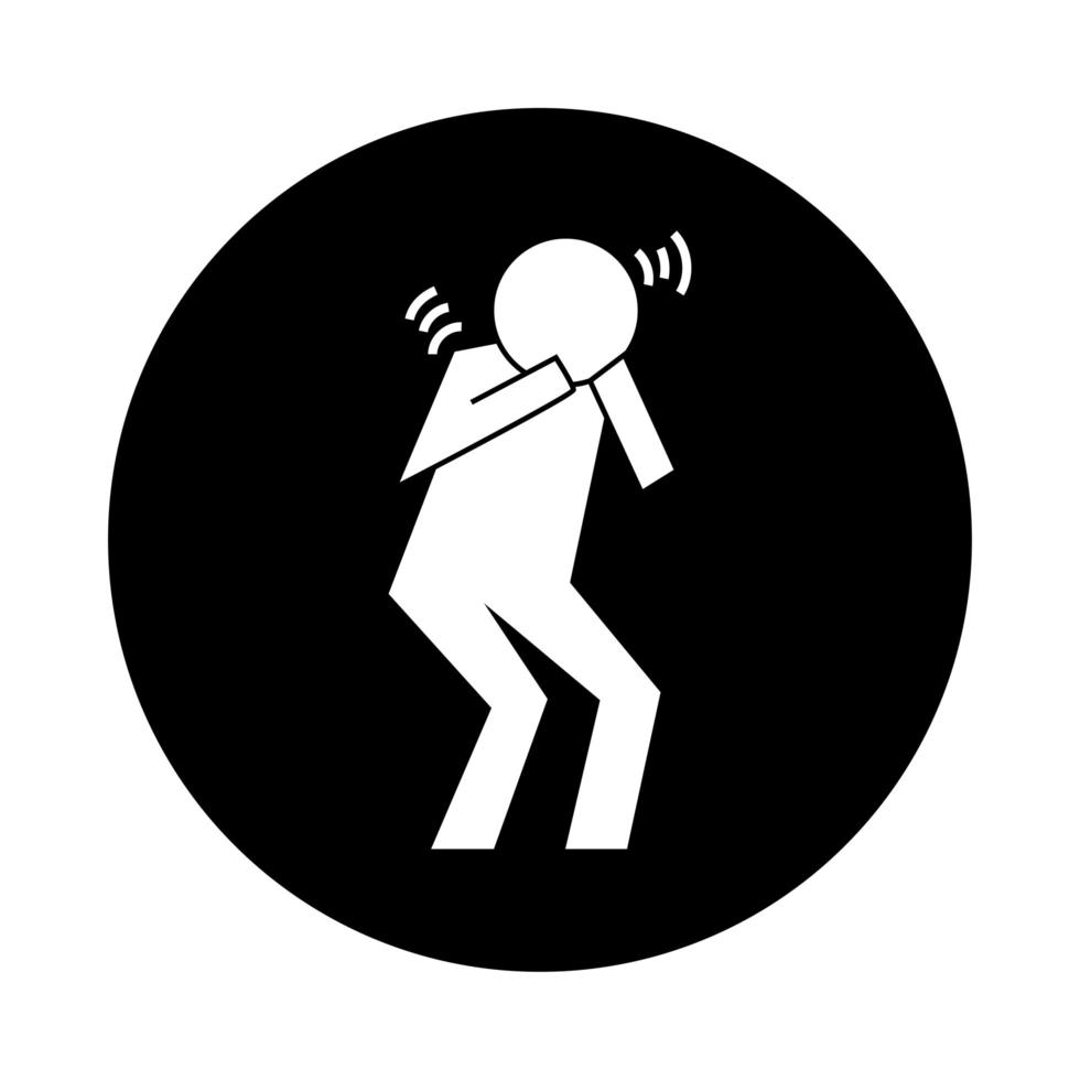 human figure coughing in hands health pictogram block style vector