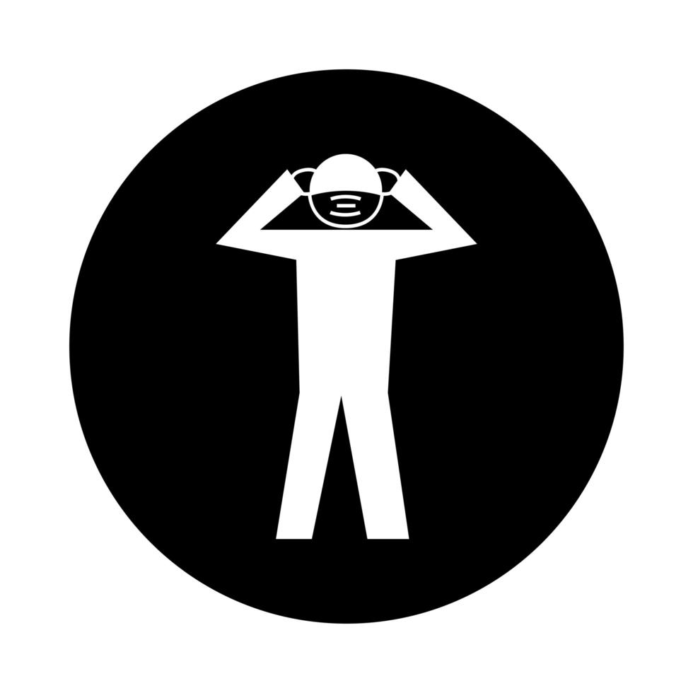 human using face mask with headache health pictogram block style vector