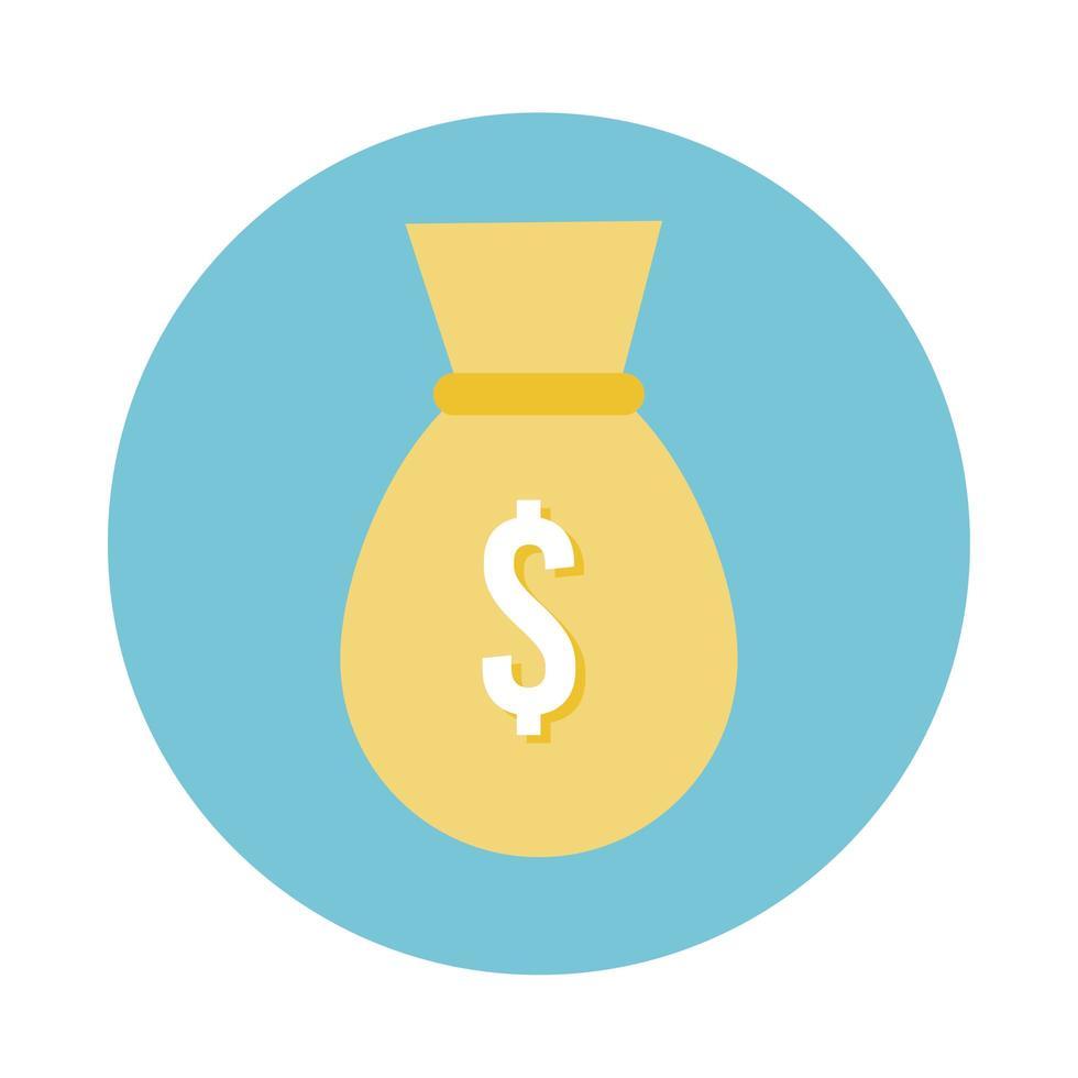 money bag block style icon vector