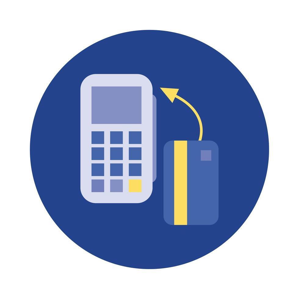 tarjeta de crédito con bloque de cupones e icono de estilo plano vector