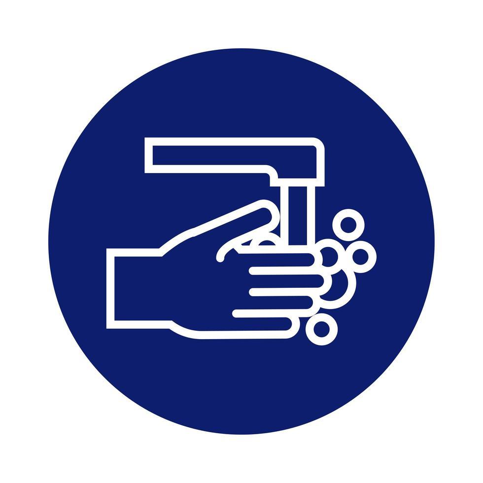 lavado de manos con icono de estilo de bloque de grifo vector