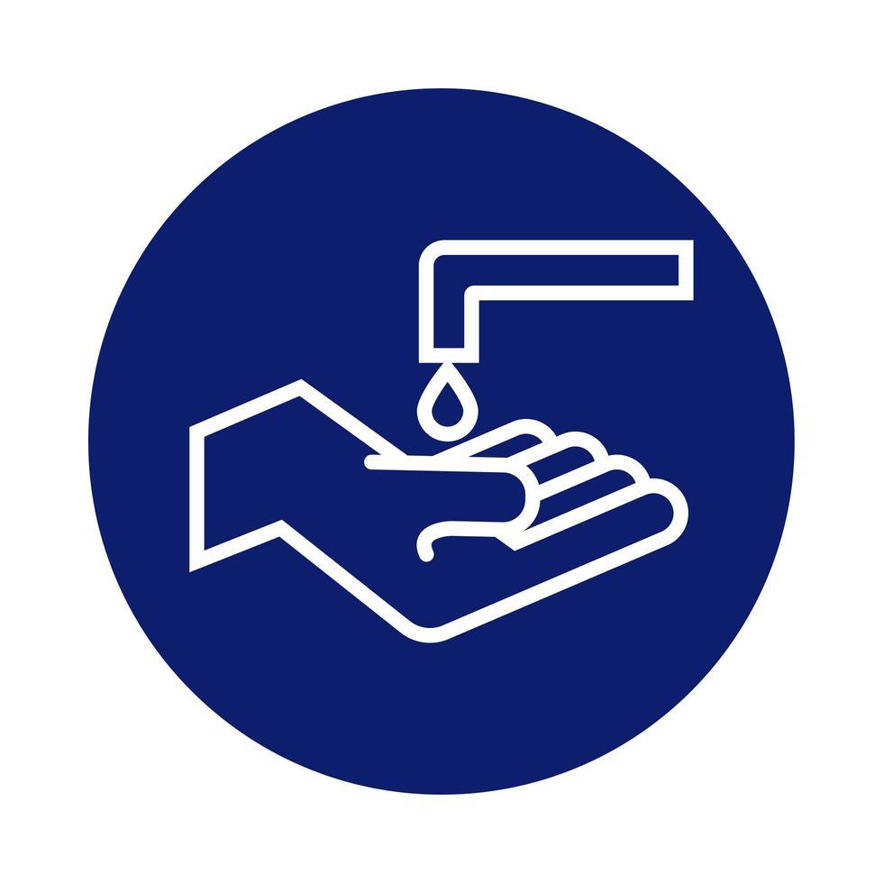 lavado de manos con grifo y estilo de bloque de caída vector