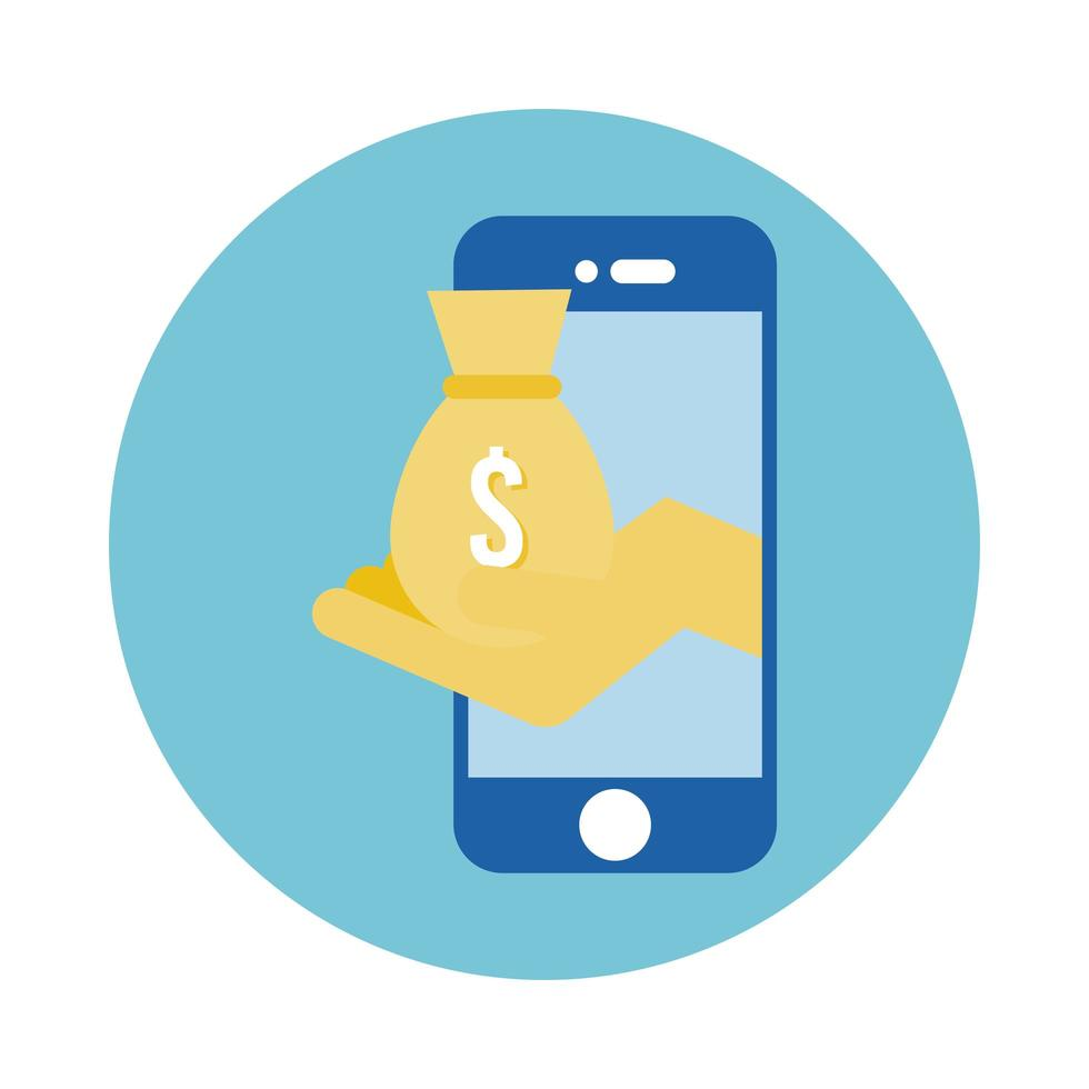 smartphone with hand lifting money bag block style vector