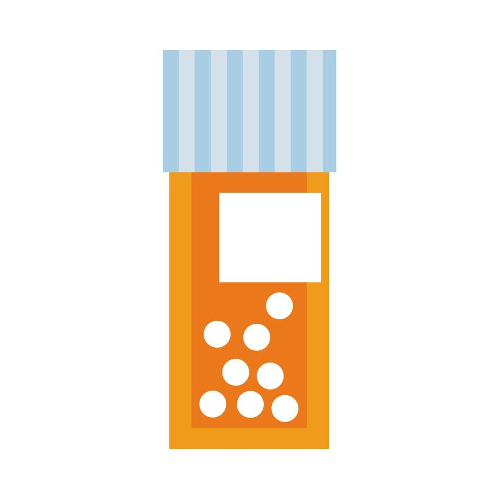 medical bottle drugs with pills flat style vector