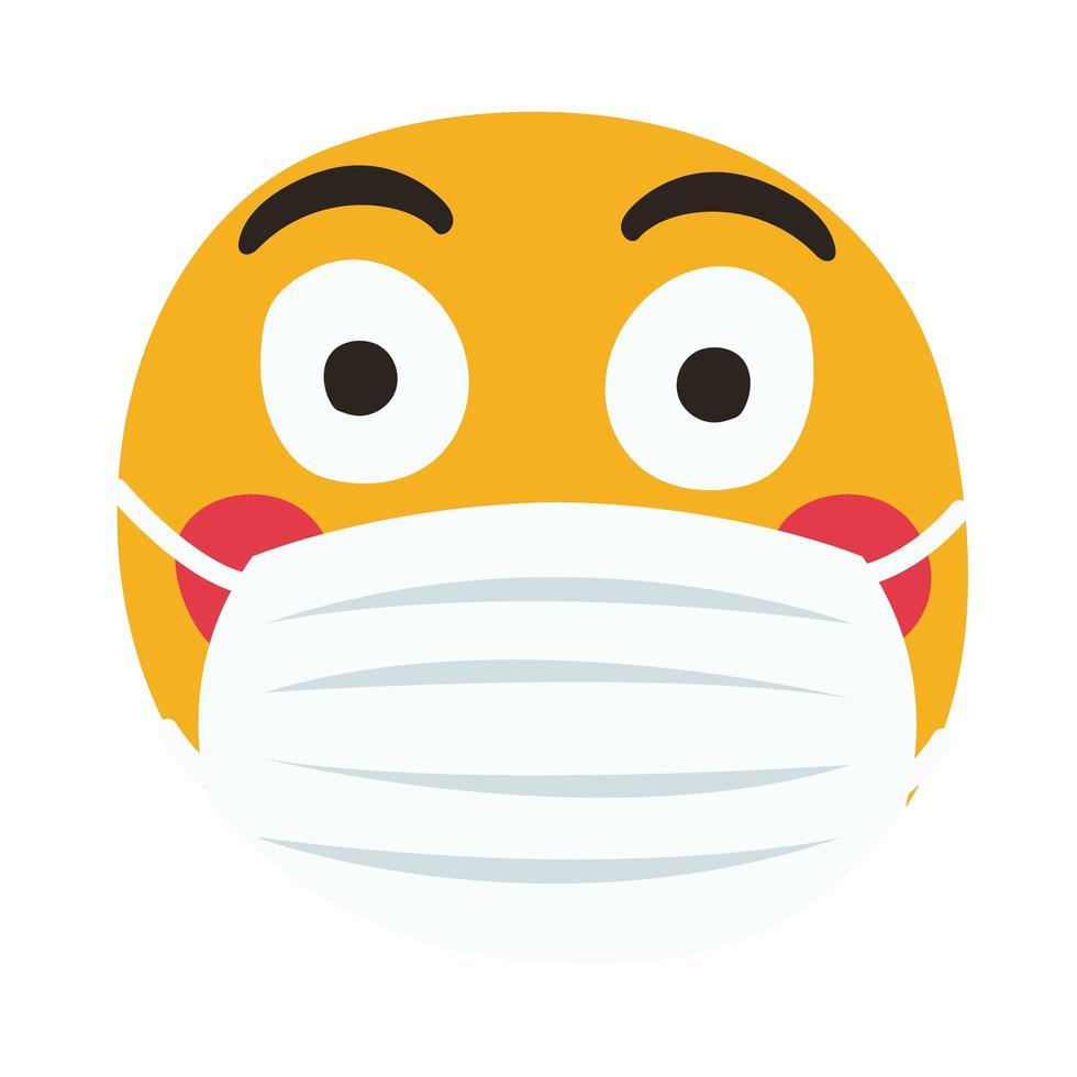 emoji enrojecido con máscara médica estilo de dibujo a mano vector
