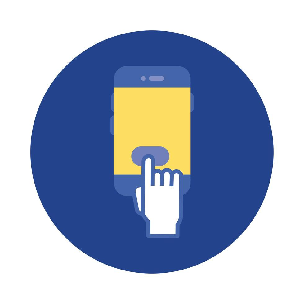 teléfono inteligente con bloque de cursor de mano e icono de estilo plano vector