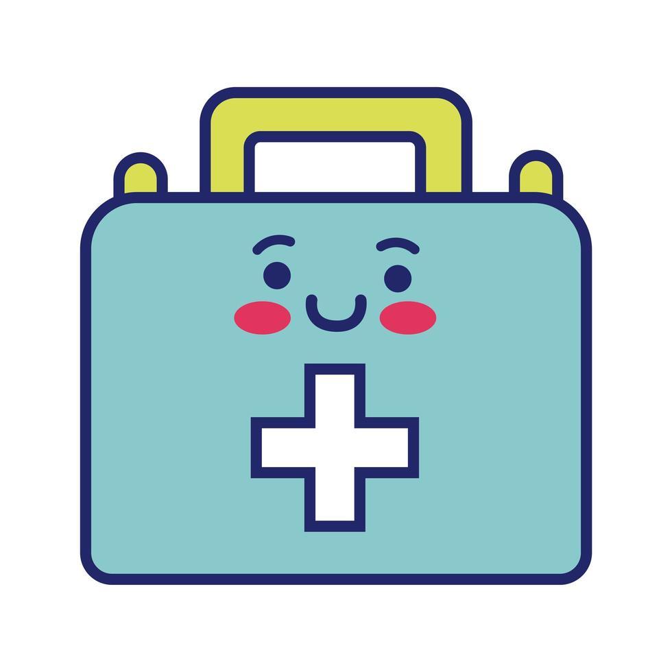 kit médico con estilo de línea kawaii cruzada vector