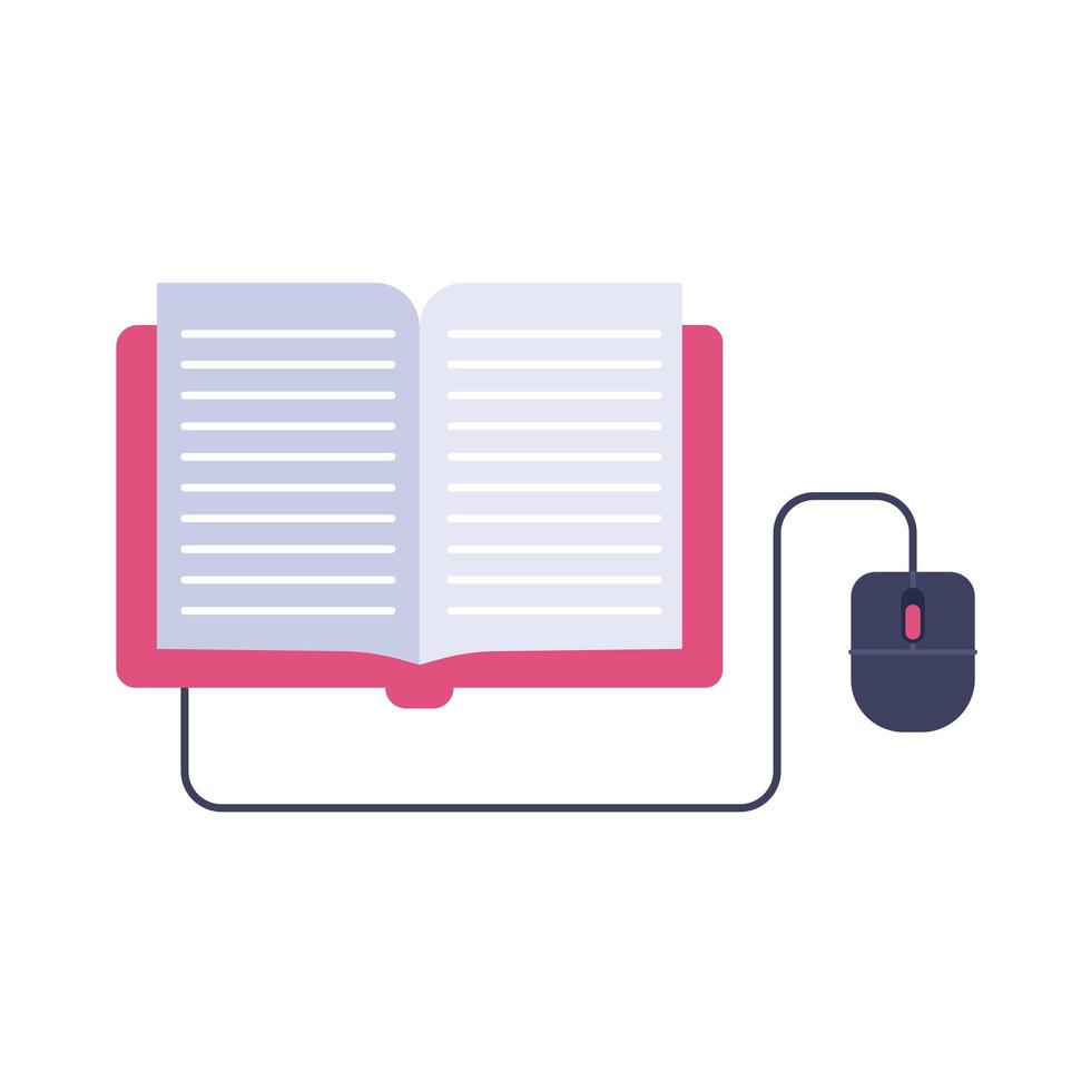 electronic book with mouse education online flat style vector