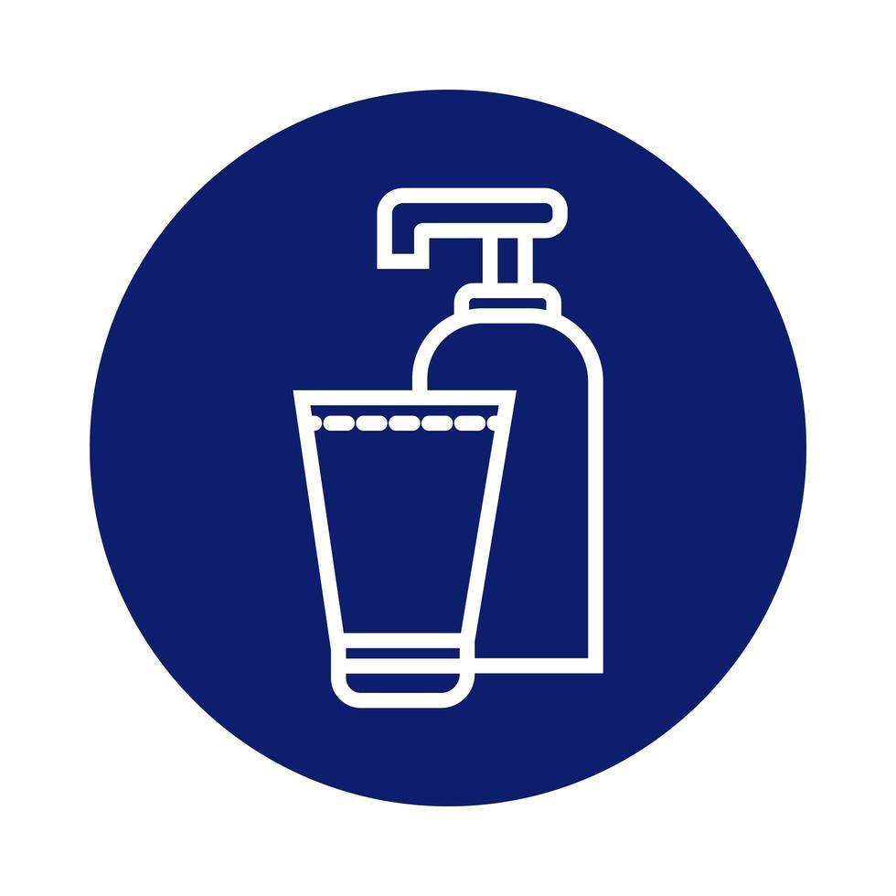 antibacterial soap bottle block style icon vector