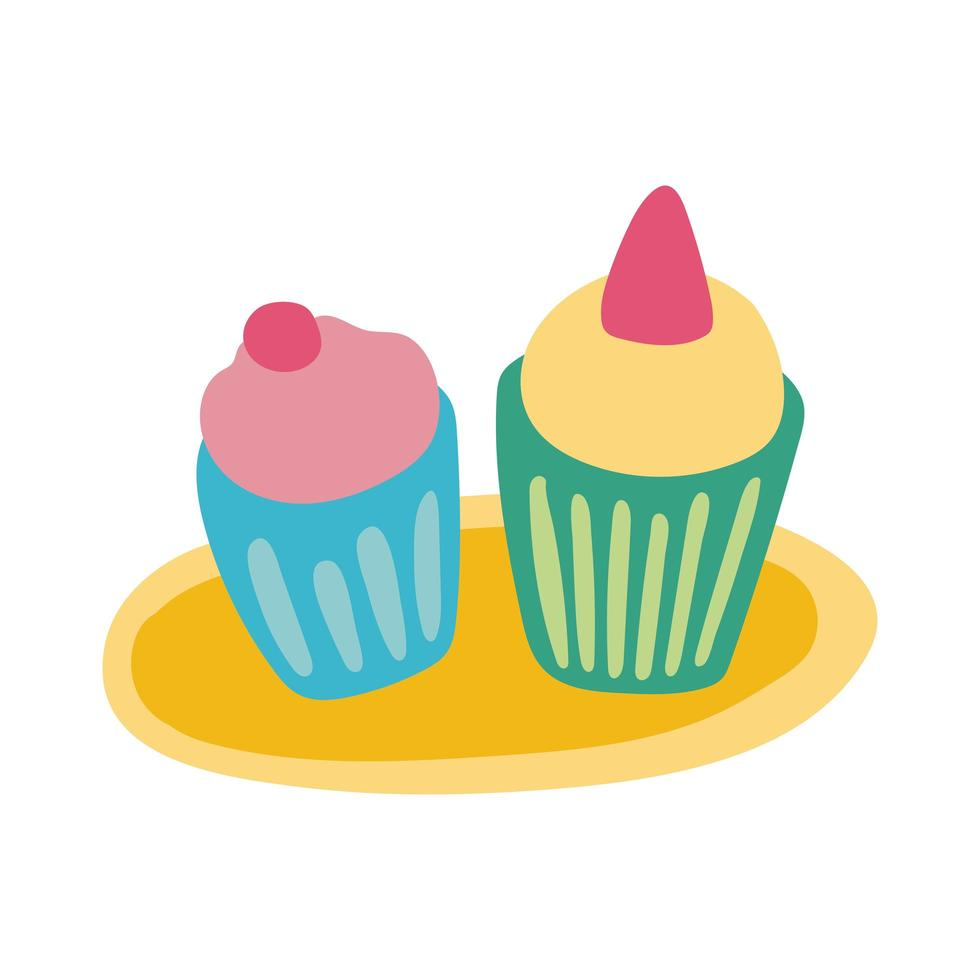 sweet cupcakes flat style icon vector