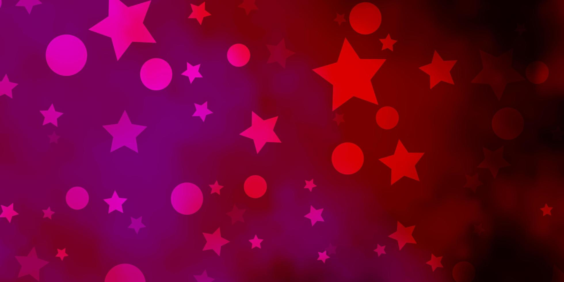 Dark Purple, Pink vector background with circles, stars.