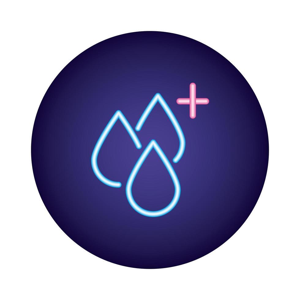 icono de estilo neón de gotas de sangre vector