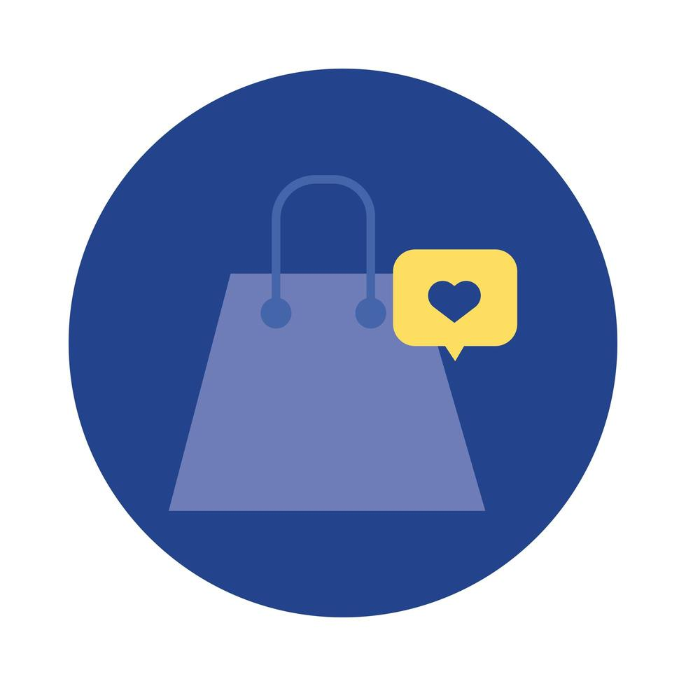 shopping bag paper with heart in speech bubble block and flat style vector
