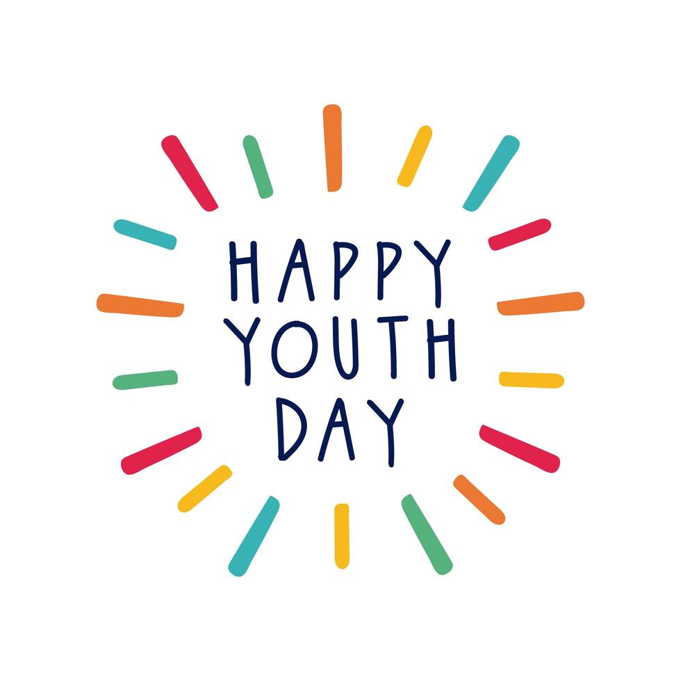 happy youth day lettering with burst flat style vector