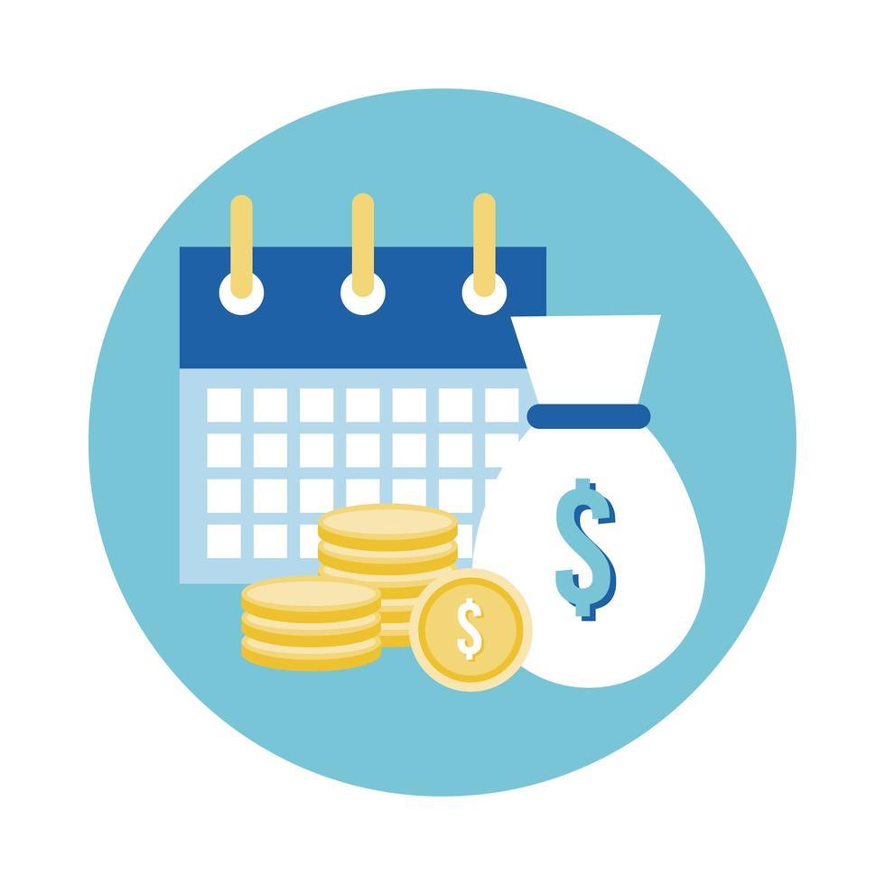 recordatorio de calendario con monedas icono de estilo de bloque de dólares vector