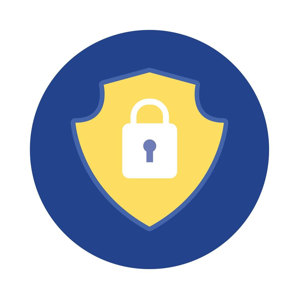 shield with padlock block and flat style vector