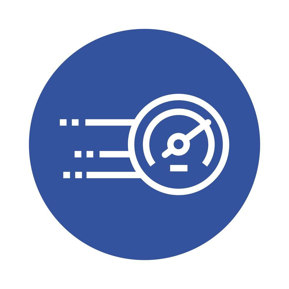 speed gauge block style icon vector illustration design