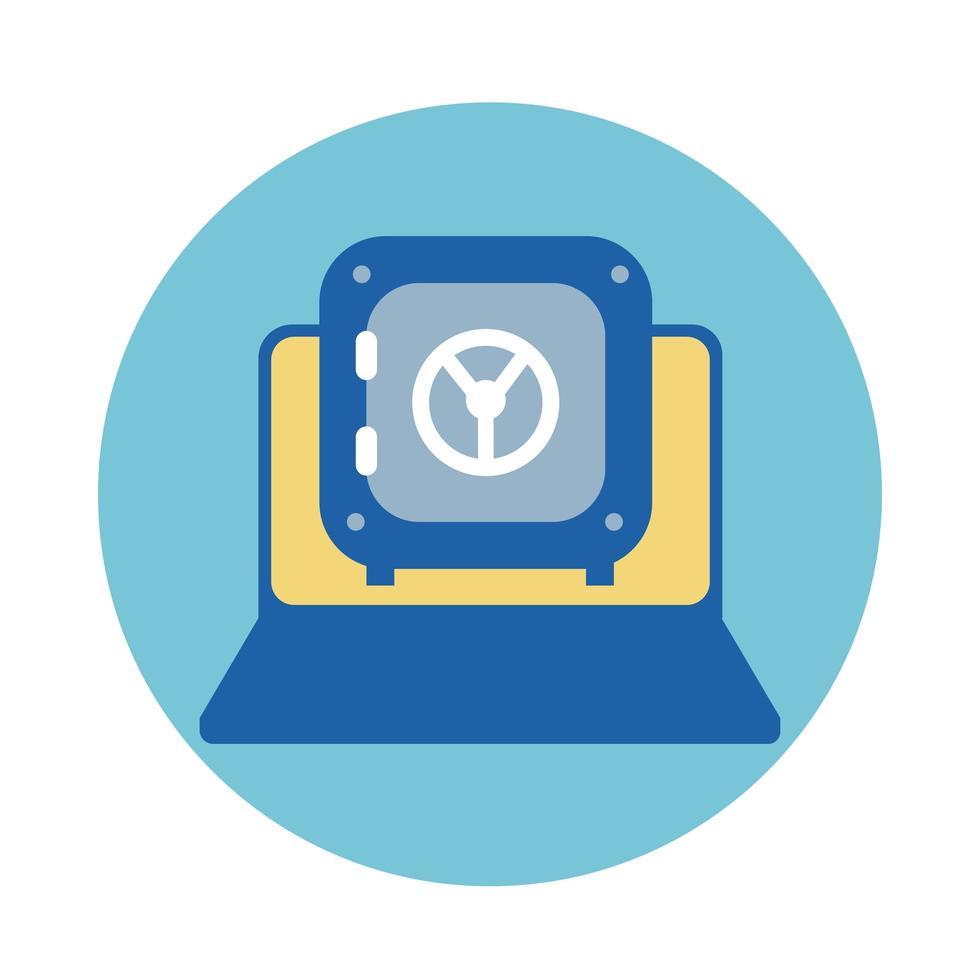 portátil con icono de estilo de bloque de caja de seguridad vector