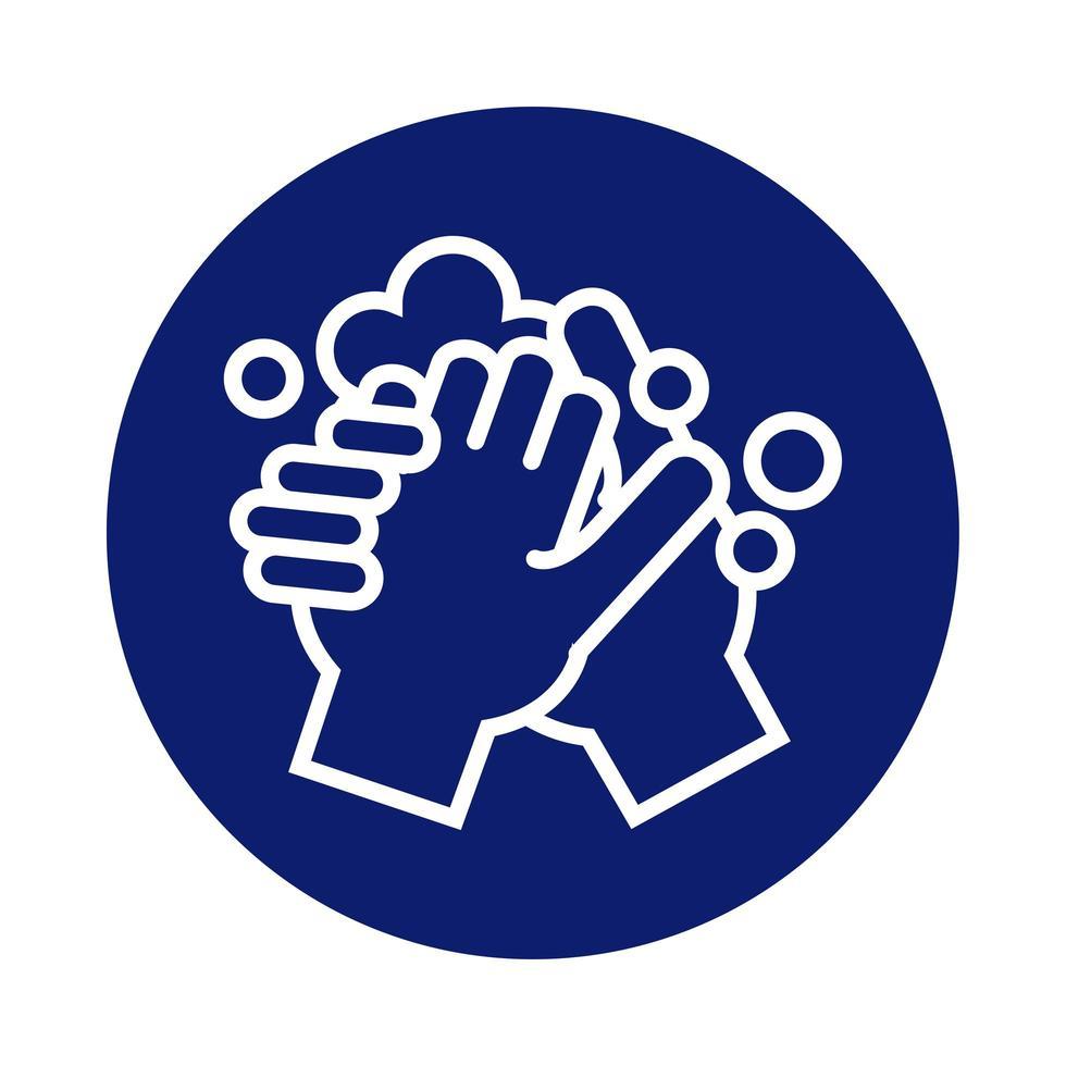lavado de manos con icono de estilo de bloque de espuma vector