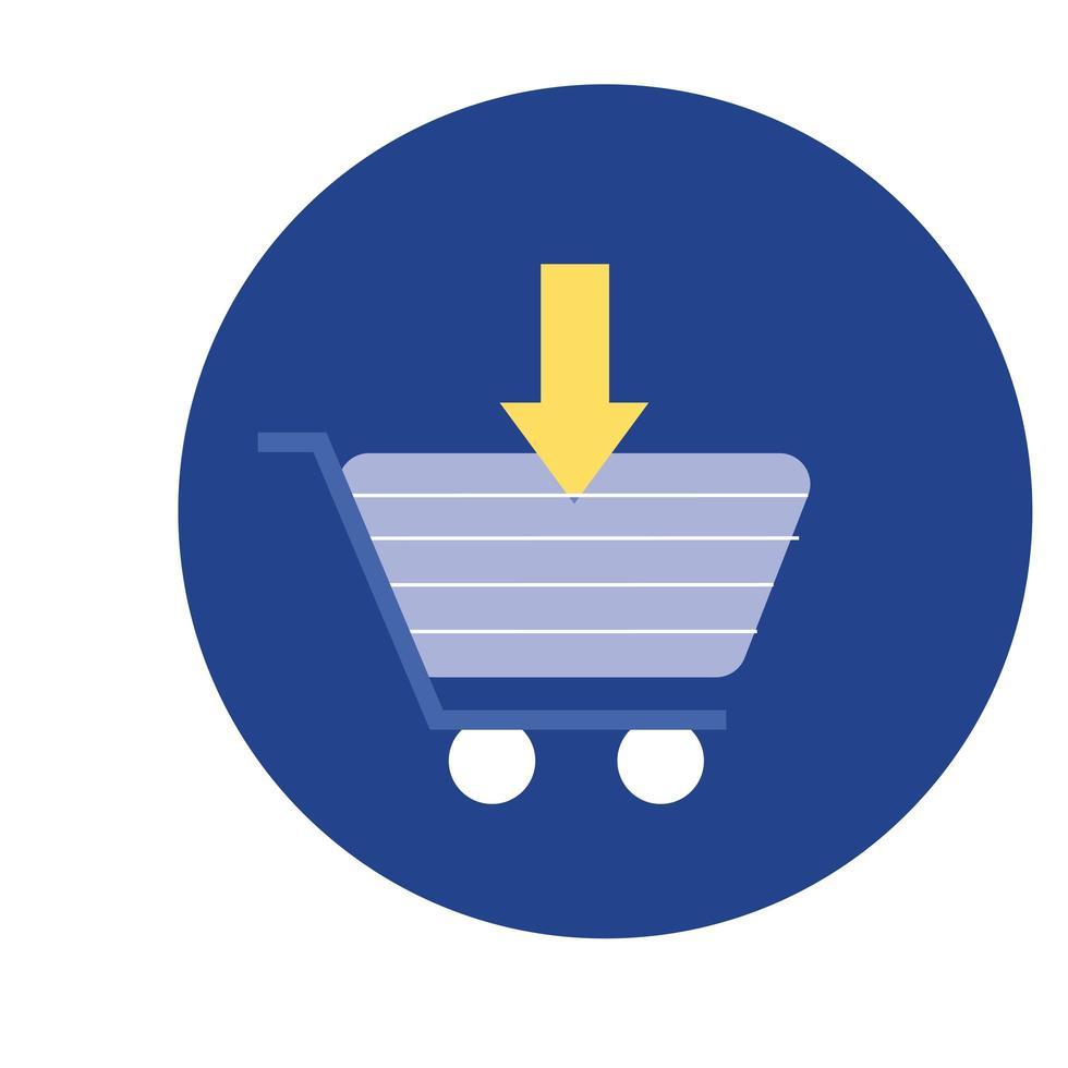 carrito de compras con bloque de descarga de flecha e ícono de estilo plano vector