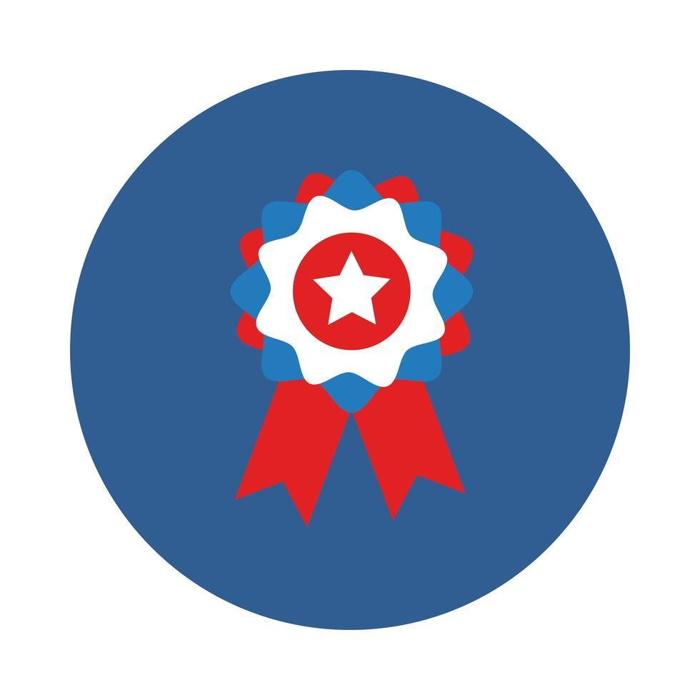 medalla con estilo bloque de estrellas vector