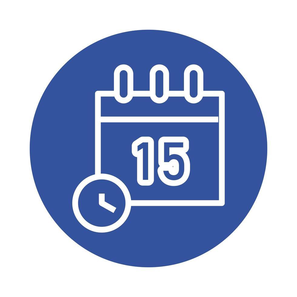 calendario y reloj icono de estilo de bloque vector