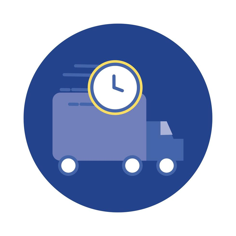 delivery service truck with watch block and flat style icon vector