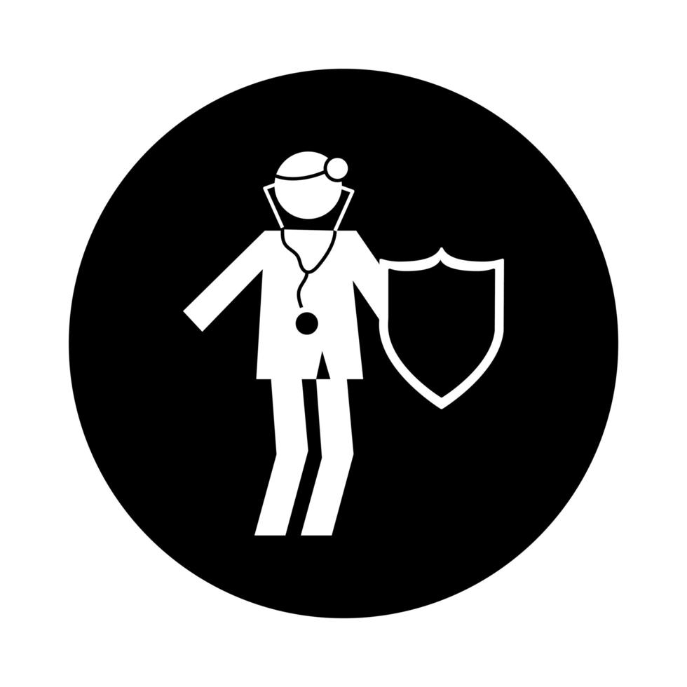 doctor with shield health pictogram block style vector