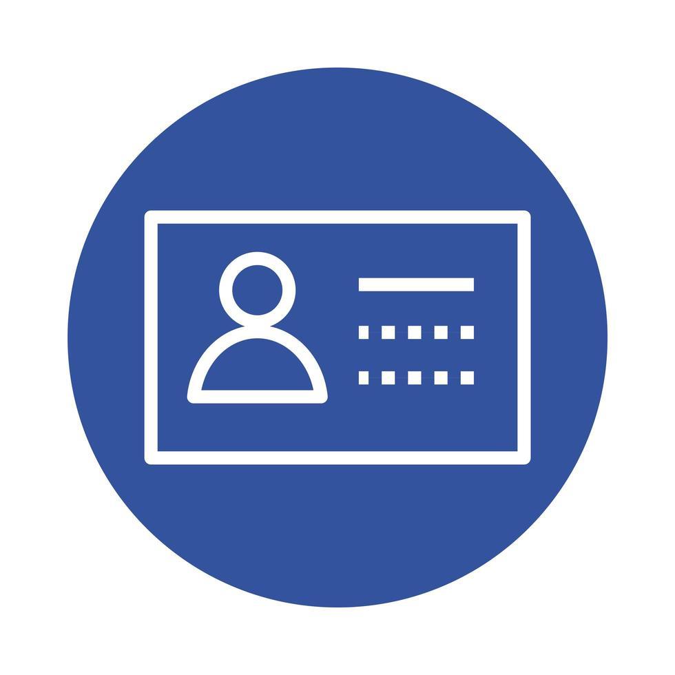 icono de estilo de bloque de documento de identificación vector