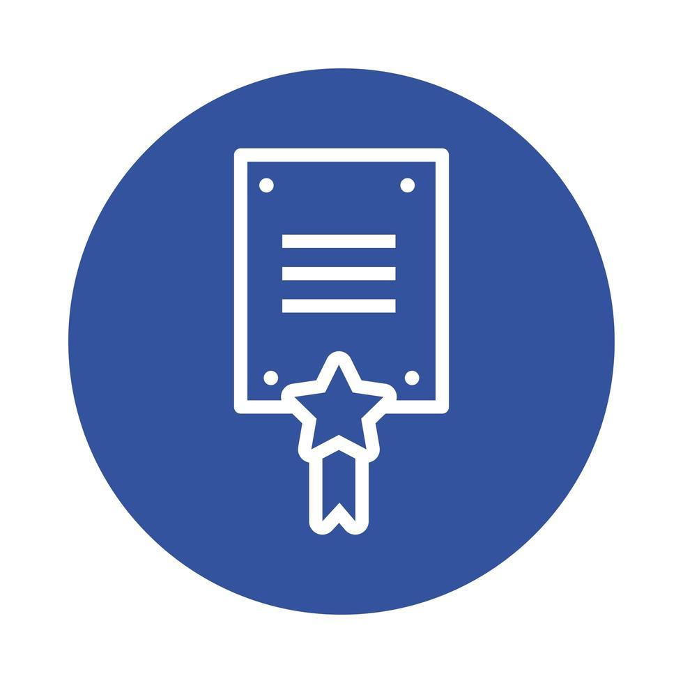 documento con icono de estilo de bloque de medalla de estrella vector