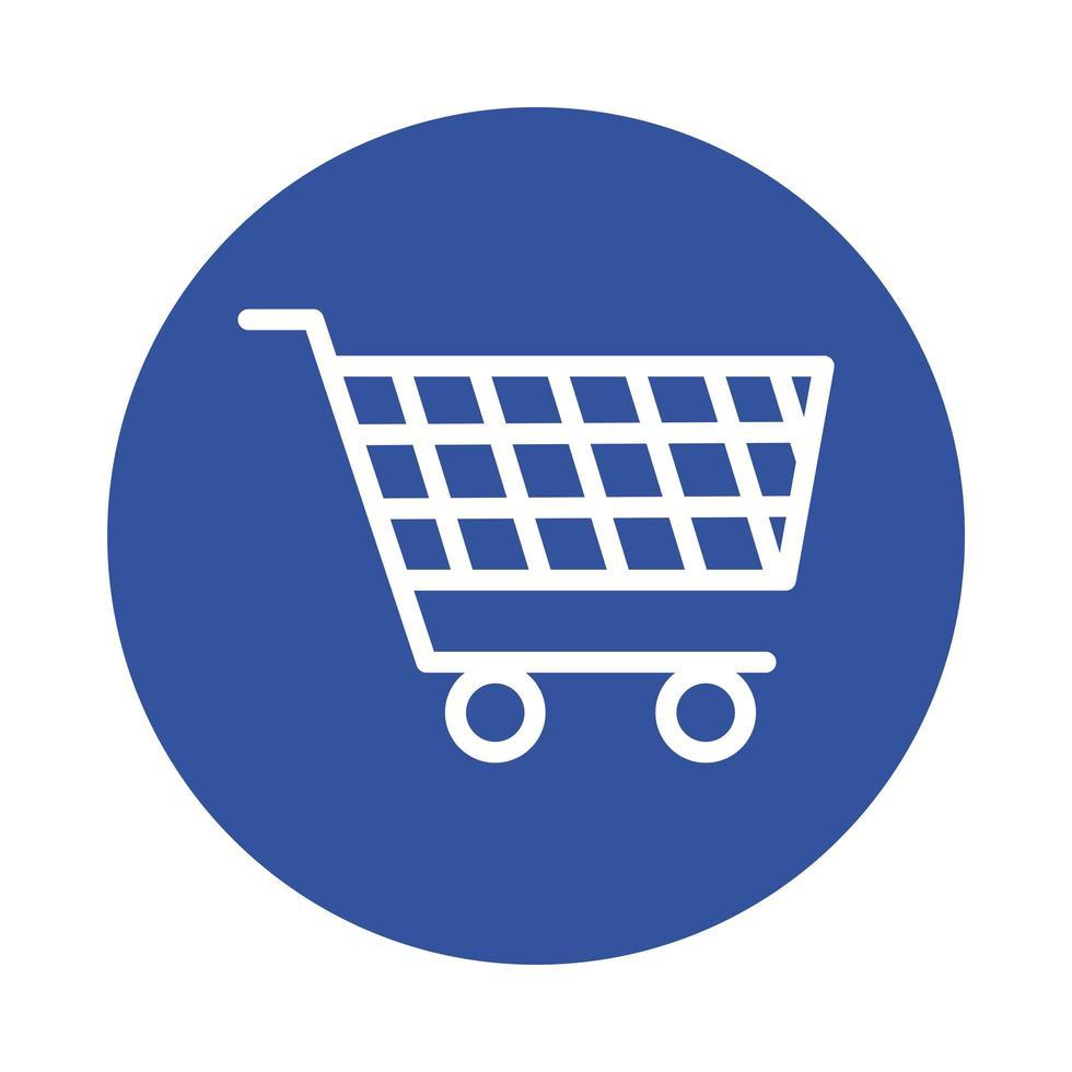 shopping cart market block style vector
