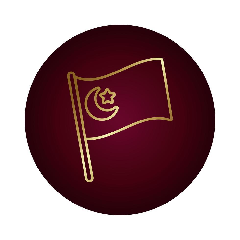 turkey flag block gradient style icon vector