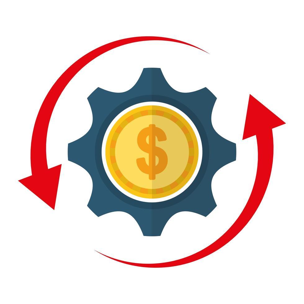 diseño de vector de moneda y engranaje aislado
