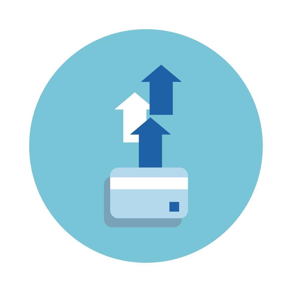 tarjeta de crédito con flechas hacia arriba icono de estilo de bloque vector