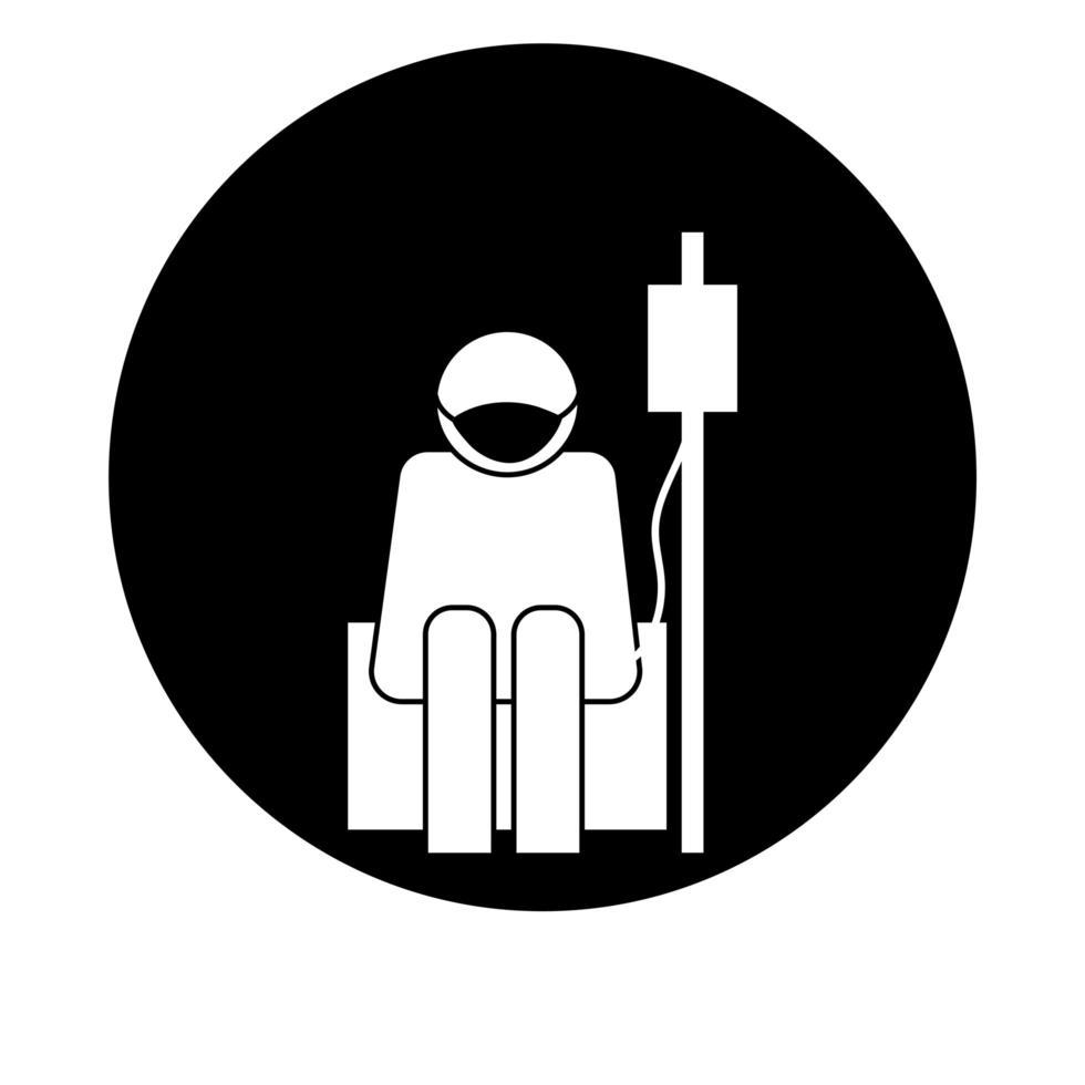 Figura con máscara facial con estilo de bloque de pictograma de salud de bolsa de donación vector