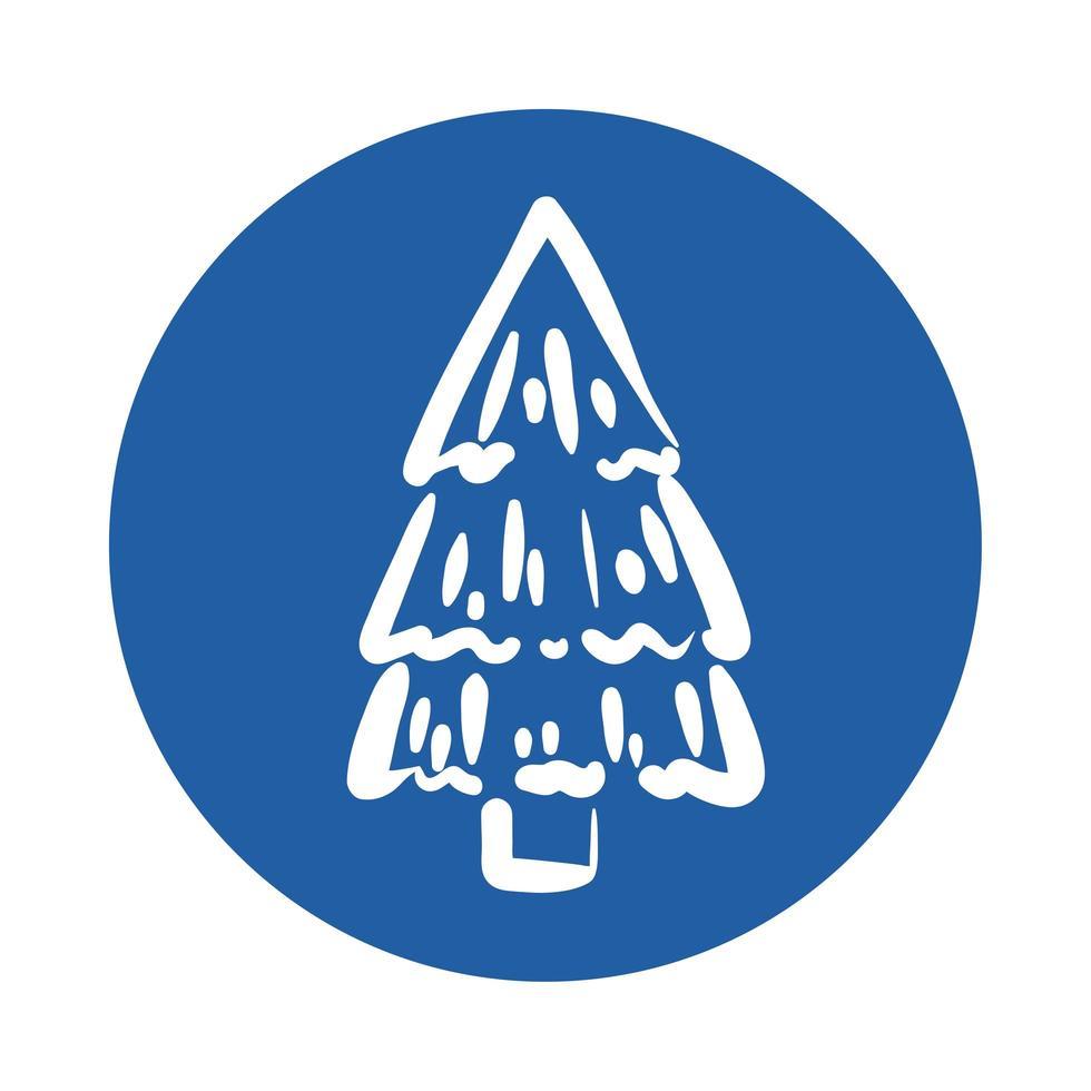 pine tree plant block style icon vector
